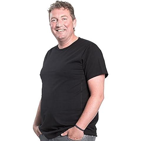 Maglietta per uomo girocollo, pacco da 2, T-Shirt collo rotondo, 1XL-8XL, 2 pack T-shirt appositamente progettato per gli uomini oversize | Mezzo 112-178 cm - Nero Cargo Box