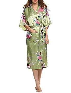 Encan, vestaglia da donna, stile classico, kimono di raso lungo