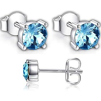 470a8807b3734 925 Sterling Silver Stud Earrings Used with Crystal from Swarovski Stud  Earrings - Jewellery for Women Pierced Earrings By GoSparkling - Round Stud  ...