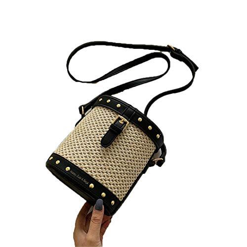 Dooney Bourke Leder Taschen (Sommer Taschen Stroh Totes Bag Haspe Leder Eimer Strandtasche Black)