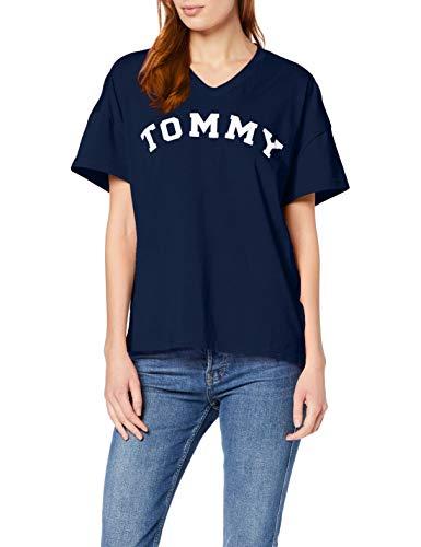 Tommy Hilfiger Damen VN Tee SS Print T-Shirt, Blau (Navy Blazer 416), Small (Herstellergröße: SM) -