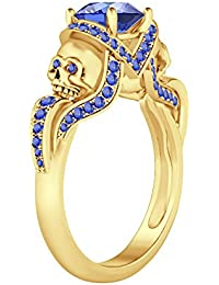 Silvernshine 1.52Ct Tanzanite CZ Engagement & Wedding Two Skull Desing Ring 14K Yellow Gold Plated
