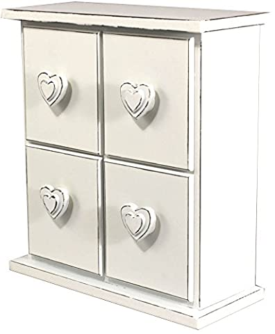 Distressed White Painted Mini 4 Drawer Chest With Heart Shaped Handles