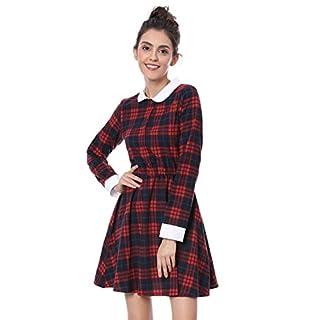 Allegra K Women's Checked Contrast Peter Pan Collar Swing Skater Plaid A Line Dress Red XL