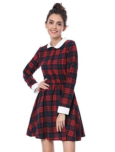 Allegra K Women's Contrast Peter Pan Collar Plaid Check A Line Dress