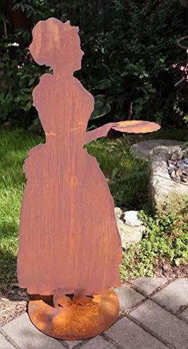 Unbekannt Rostalgie Edelrost Madame mit Tablett 80 cm, inkl. Herz 8x6cm Figur Frau Skulptur Bodenplatte Dekoration Barock-skulptur