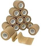 MEDca Selbstklebende Kohäsive Wickel Bandagen 7,5 cm x 4,5 m 12 Stück mit Starkem, Elastischen Erste Hilfe Band für Verstauchungen Schwellungen und Schmerz an Handgelenk und Knöchel (Hautfarbe)