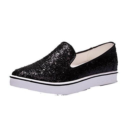 VogueZone009 Femme Pointu Tire Tissu à Paillette Couleur Unie à Talon Bas Chaussures Légeres Noir