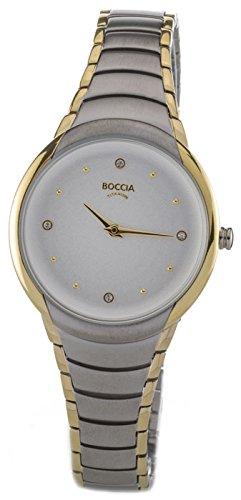 Boccia Damen Analog Quarz Uhr mit Titan Armband 3276-10