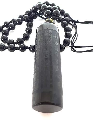 Halskette mit Anhänger Sutra des Buddha aus schwarzem Obsidian