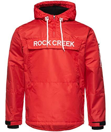 Rock Creek Herren Windbreaker Jacke Übergangsjacke Anorak Schlupfjacke Kapuze Regenjacke Winterjacke Herrenjacke Jacket H-167 Rot S -
