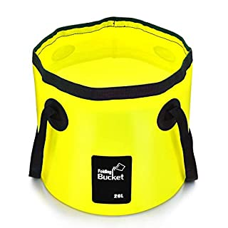 •Aisoul Premium Collapsible Bucket Portable Folding Bucket Wash Basin for Traveling Hiking Fishing Boating Gardening (Yellow, 20L)
