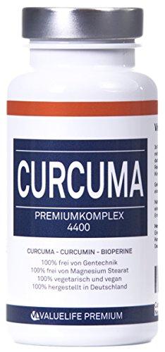 Curcuma Komplex 4400: Curcuma + Curcumin + Bioperine hochdosiert. Stärkster Entzündungshemmer Premiumkomplex mit Vitaminen. 90 Kapseln a 576mg