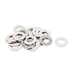 Sellify 20pcs 304 Stainless Steel M12 Thin Flat Washers Silver Tone