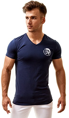 Diesel Herren Michael Industry V-Ausschnitt Shirt (Small, Navy)