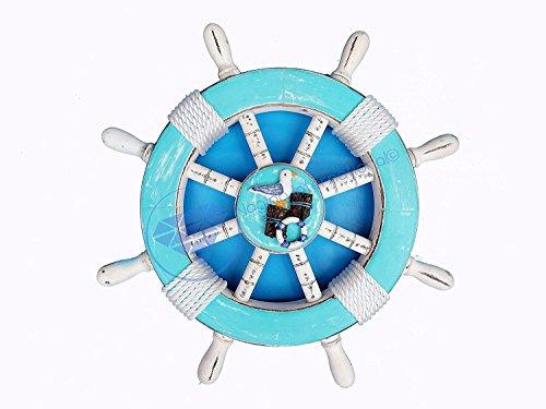 Ocean Blau Home Dekorative maritime Schiff Rad–Möve–Pirat Home Decor Wandbehang Geschenke–Nagina International, holz, Blue , light blue , blue , sky blue , white, 41 cm