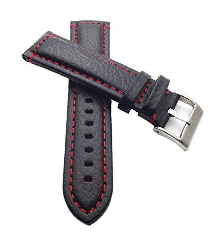 22 mm Uhrenarmband Büffel Leder schwarz mit roter Naht, Breitdornschließe, Bison