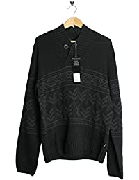 GIO GOI S12100301 Black Karlisle Knited Jumper Long Sleeve Button Down Colloer