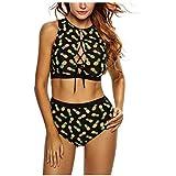 Kaamastra Women's High Waist Lace-up Pineapple Print Tankini LC410045-2_Black_Freesize