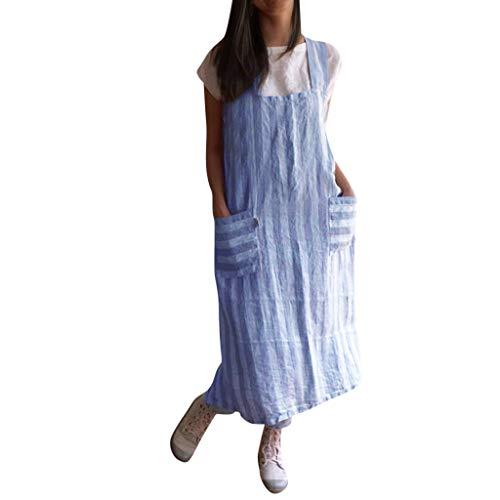 Damen Kleider Lurcardo Lässiges Bettwäsche aus Baumwolle Schürze Kreuz Schürze Gartenarbeit Ärmellos Midikleid