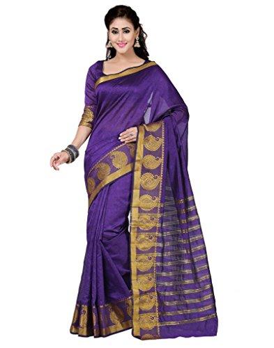 Deepika Saree Purple Art Silk Saree with Blouse  available at amazon for Rs.990