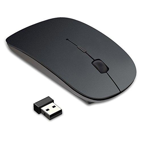Karrong Mouse Wireless Mäuse Kabellose Maus, Leoker Maus Wireless Mouse, 2.4G PC Maus, Wiederaufladbar Mäuse mit USB Nano Empfänger Für PC Laptop iMac Macbook Microsoft Pro, Office, Home(Schwarz)