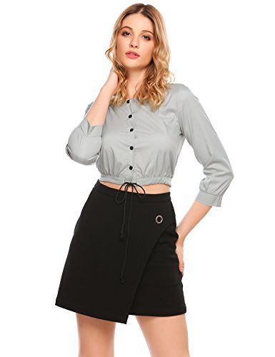 Damen Langarmshirt Crop Top 3/4 Arm Bauchfrei Shirt blusen Grau
