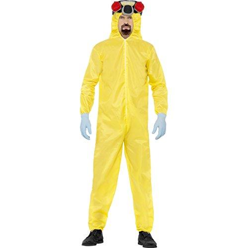 Walter White Schutzanzug Breaking Bad Kostüm L 52/54 Heisenberg Labor Jumpsuit Lab Overall Filmkostüm Gelber Ganzkörperanzug Film Faschingskostüm Karneval Kostüme ()