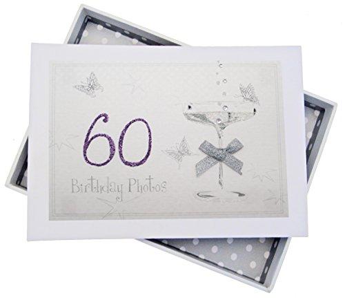 WHITE COTTON CARDS c60t 12,5x 17,5x 2,5cm Tiny 60. Geburtstag Coupe Glas Foto Album, weiß Glas-coupe