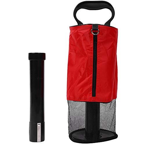 Dwawoo Golfball Pick Up, Nylon Tasche Kunststoffschlauch Golfball Retriever für Golf Training Golf Grabber Werkzeug(Rot) -