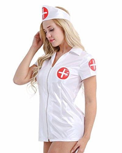 iixpin Wetlook Krankenschwester-Kostüm - für Erwachsene/Damen Glänzend Mini Kleid mit Haube Cosplay Kostüme Verkleidung Weiß X-Large (Halloween-kostüm Nacht-krankenschwester)