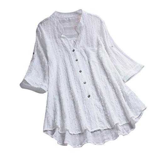 VEMOW Herbst Frühling Sommer Elegante Damen Frauen Stehkragen Langarm Casual Täglichen Party Strand Urlaub Lose Tunika Tops T-Shirt Bluse(Weiß, 40 DE/M CN) -
