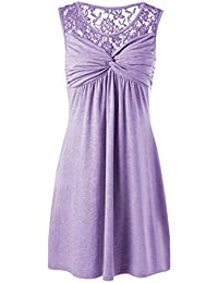 JUNHONGZHANG Le Donne di Pizzo Patchwork Floreali Flowy Anteriore  Sleeveless Una Linea Swing Party Dress 88d0dfd9f8d