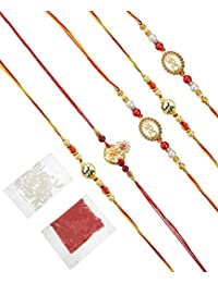 Tied Ribbons Set of 5 Designer Rakhi for Brother with Rakshabandhan Special Card