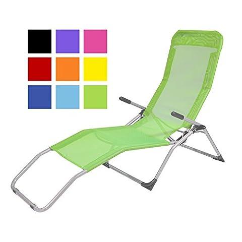 TPFGarden Gesundheitsliege Kippliege Relaxliege ATHEN klappbar + aus Stahl + wetterfest | Farbe: Grün | Hohe Qualität