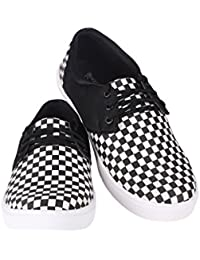 BootEase Men's Black And White Check Lace Up Sneakers