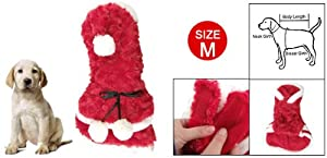 Red Plush Christmas Style Tiered Hem Pet Dog Apparel Clothes M by sourcingmap