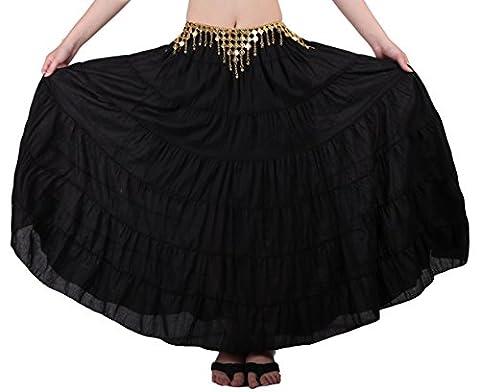 Seawhisper Belly Dance 8 Yard Bohemia Skirt, Swing Skirt, Tiered Maxi Tribal Gypsy Skirt Flared Long Retro Vintage Beach Summer Cotton Dress Costume with Gold Coins Belt Waist Chain (black)