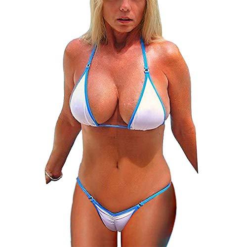 80ac6a795f SHERRYLO Scrunch Butt String Bikini Brazilian Traje De Daño De Mujer  (White, L)