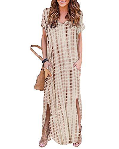YOINS Sommerkleid Damen Lang Maxikleider für Damen Strandkleid Sexy Kleid Kurzarm Jerseykleider Strickkleider Rundhals mit Gürtel Langarm,EU36-38/S,Beige -