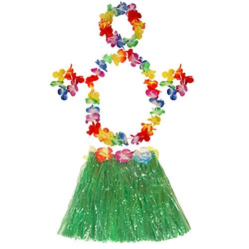 tröckchen 40cm Lange Hawaii Hula Baströckchen Für Erwachsene Und Kinder Hawaii-Partei-Kostüm Grün ()