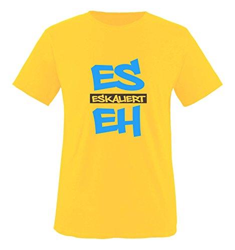 Hündin Gelbes T-shirt (Comedy Shirts - Es eskaliert eh - GRAFFITI - Herren T-Shirt - Gelb / Blau-Braun Gr. S)
