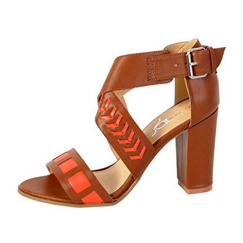 The Divine Factory Sandale Ferse TDF2920 Camel/Rot Marron