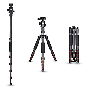 Rollei Carbon traveler tripod in black with ball head - compatible with DSLR & DSLM cameras - incl. monopod, Acra Swiss quick release plate & tripod bag