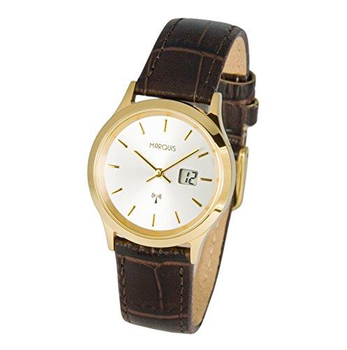 Elegante Marquis Mujer Radio Reloj de pulsera reloj de) (Junghans de caja de acero inoxidable, correa de piel pulsera 964.2045