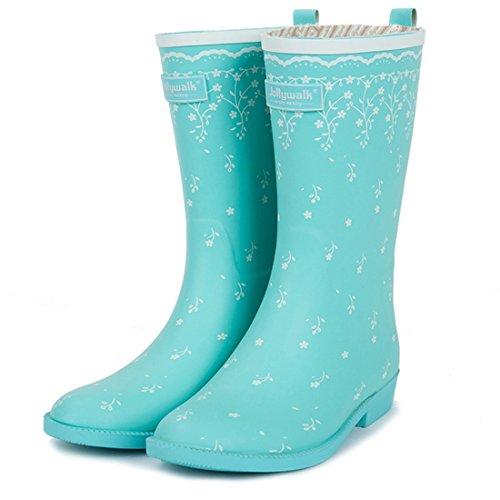Zapatos de Moda para Hombre Goma Antideslizante de PVC con Zapatos de Agua con Estampado de Plumas Florales para Botas de Lluvia Impermeables para niñas de Mujeres,