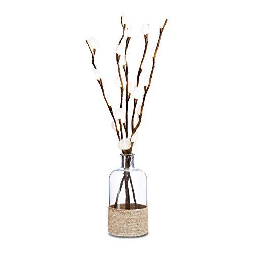 Relaxdays Deco jarrón, jarrón de suelo con cordel de yute 38cm, forma...