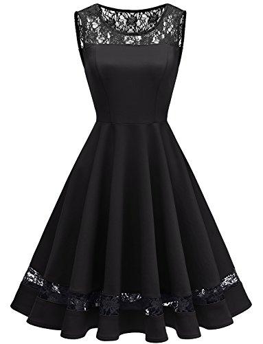 GardenWed Damen 1950er Vintage Spitzen Rockabilly Knielang Cocktailkleid Abendkleider Black XL