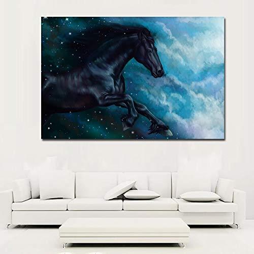 NIMCG Cavallo Moderno Dipinto Nero in Esecuzione Animale Wall Art Tela Pittura Stampa su Tela per Soggiorno Poster e Stampe Grou R1 30x45 cm (Senza Cornice)
