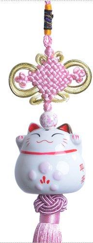 Maneki Neko Ciondolo - pendente elegante con gatto calico amabile dalla Cina (rosa)